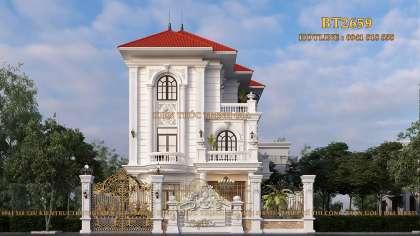 Mẫu thiết kế biệt thự mái Nhật tân cổ điển ở Ninh Bình