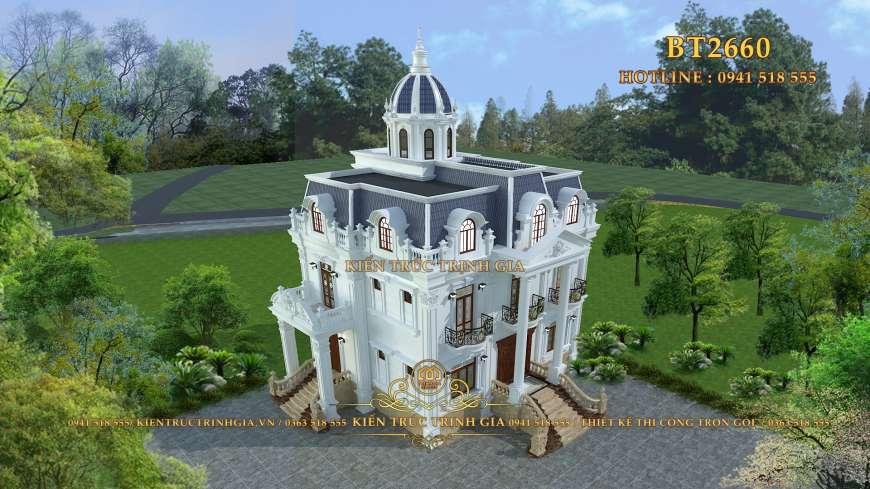 Thiết kế biệt thự tân cổ điển 3 tầng tại Vĩnh Phúc ấn tượng