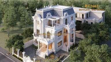 Chiêm ngưỡng biệt thự tân cổ điển 3 tầng mái chéo ở Thái Nguyên
