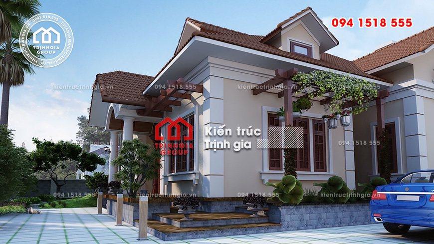 Mẫu biệt thự mini đẹp kết hợp sân vườn tiểu cảnh ở Nam Định