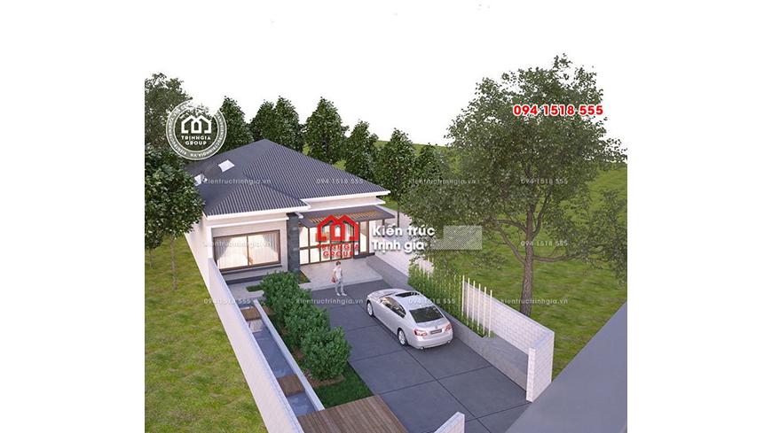 Thiết kế biệt thự 1 tầng đẹp có sân vườn tiểu cảnh đơn giản