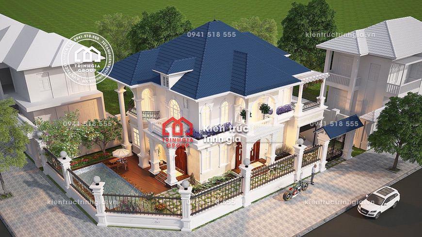 Bản vẽ thiết kế mẫu nhà biệt thự 2 tầng mái thái đẹp nhất
