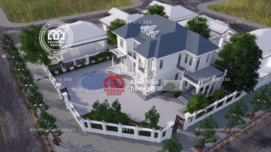 Thiết kế biệt thự 2 tầng mini diện tích 120m2 ở Vĩnh Phúc