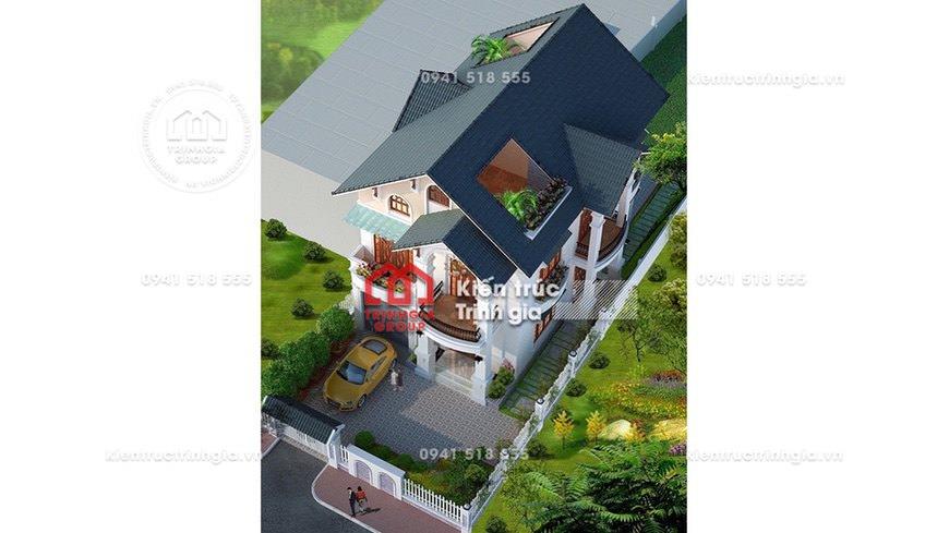 Bản vẽ nhà biệt thự 2 tầng hiện đại mái thái ở Hưng Yên