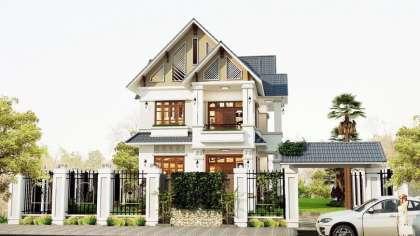 Thiết kế nhà biệt thự 2 tầng mái thái hiện đại tại Hà Nội