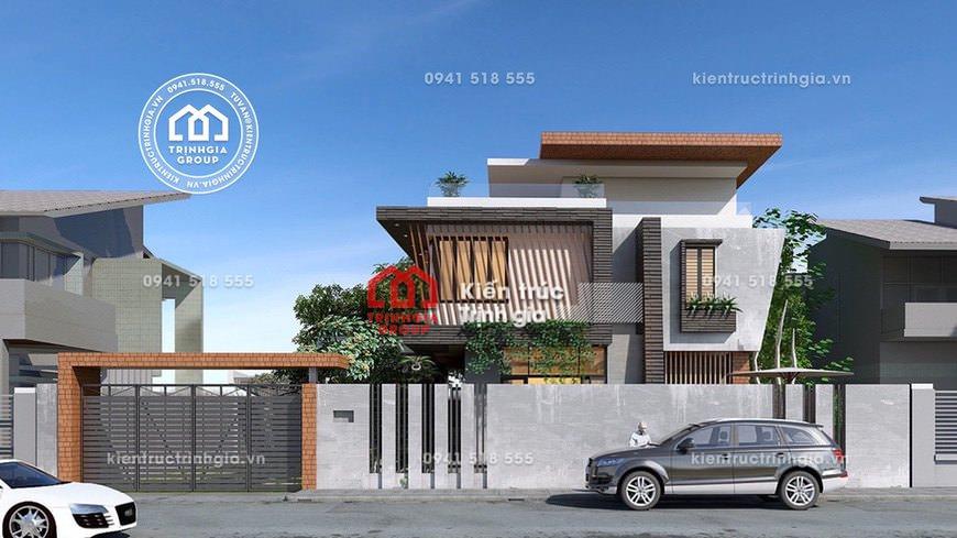 Thiết kế mẫu nhà biệt thự 2 tầng mái bằng đẹp tại Hải Phòng