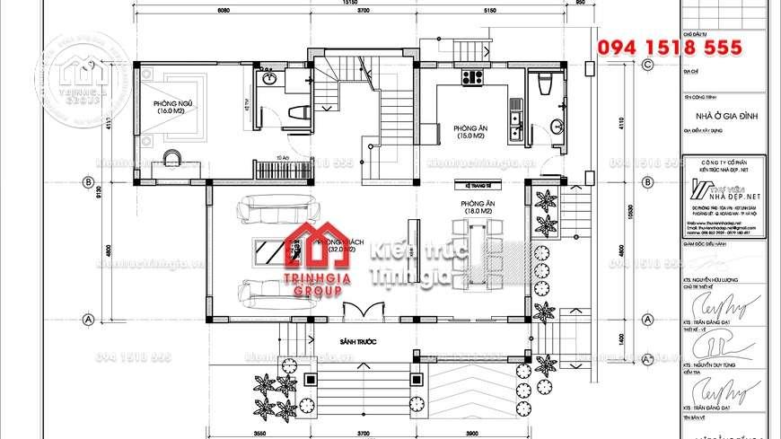 Thiết kế mẫu nhà biệt thự 2 tầng mái thái đẹp tại Hải Phòng