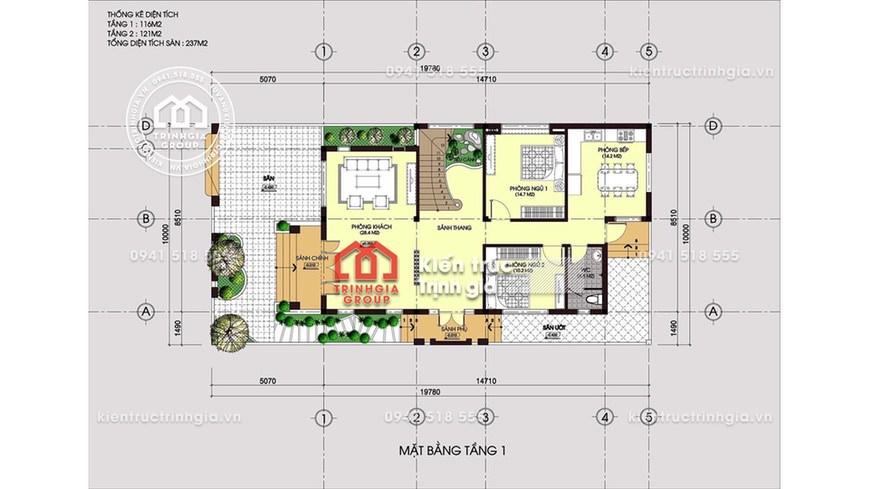 Bản vẽ mẫu nhà biệt thự 2 tầng hiện đại với diện tích 200m2