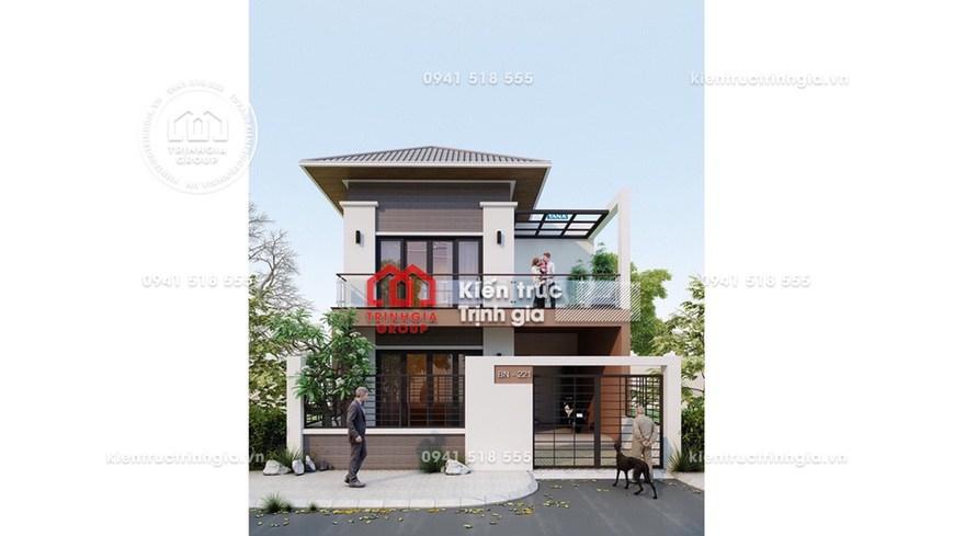 Bản vẽ mẫu nhà biệt thự 2 tầng đẹp với diện tích đất 80m2
