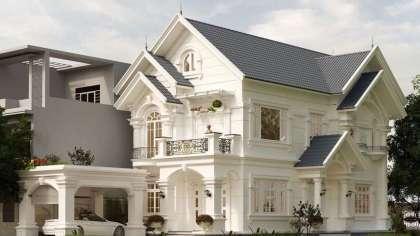 Thiết kế mẫu nhà biệt thự phố bán cổ điển kiểu Pháp ở Hà Nội