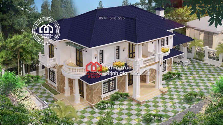 Mẫu thiết kế bản vẽ biệt thự hiện đại 2 tầng mái thái đẹp