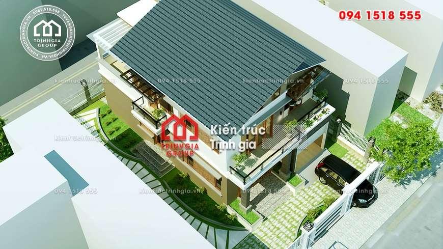 Thiết kế mẫu nhà biệt thự 2 tầng mái thái đẹp ở Vĩnh Phúc