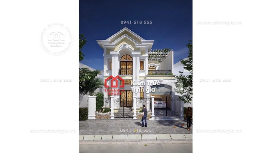 (HOT) Mẫu nhà biệt thự 2 tầng đẹp kiểu Pháp tân cổ điển