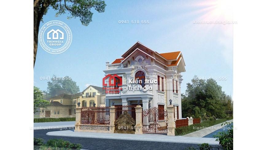 Thiết kế mẫu nhà biệt thự 2 tầng cổ điển mái thái đẹp