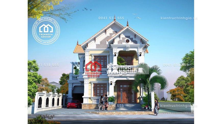 Thiết kế mẫu nhà biệt thự 2 tầng bán cổ điển đẹp ở Thái