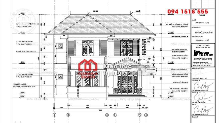 Bản vẽ thiết kế biệt thự 2 tầng hiện đại mái thái đẹp