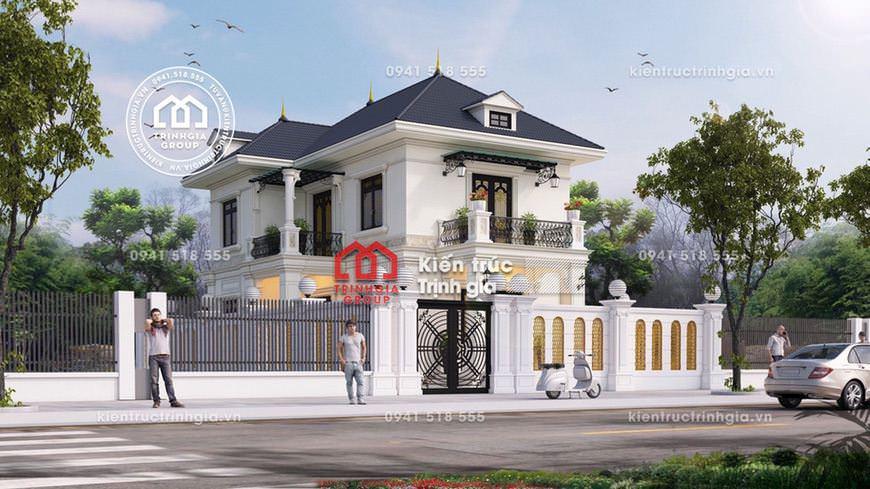 Mẫu thiết kế nhà biệt thự 2 tầng hiện đại mái thái đẹp