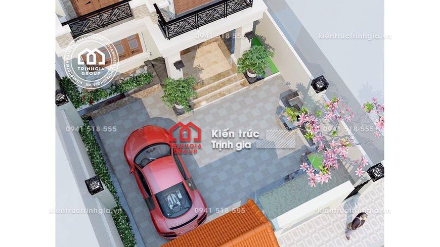Biệt thự 2 tầng mái Thái ngói đỏ với kiến trúc hiện đại