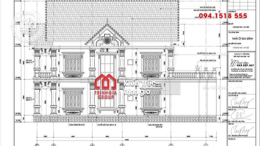 Biệt thự 2 tầng kiến trúc Pháp với diện tích 1 tầng là 220m2