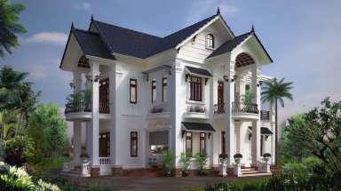Biệt thự hiện đại mái Thái 2 tầng đẹp với tường sơn màu sữa