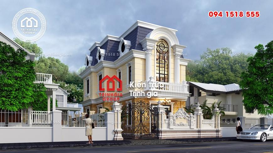 Biệt thự 2 tầng tân cổ điển đẹp mái dốc đậm kiến trúc Pháp