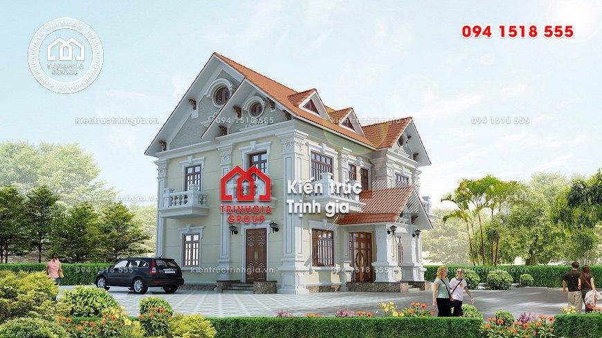 Mẫu biệt thự 2 tầng mái thái tân cổ điển sang trọng đẳng cấp