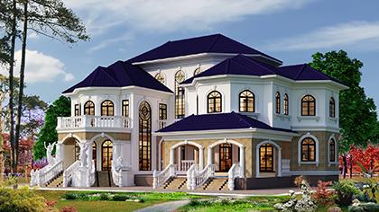 Nhà biệt thự 2,5 tầng đẹp kiến trúc tân cổ điển có bể bơi