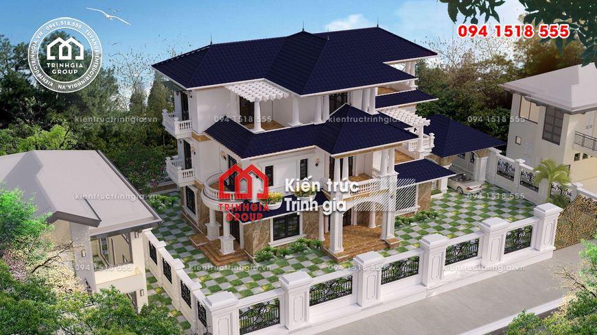 Mẫu thiết kế biệt thự hiện đại 3 tầng mái thái đẹp quý phái