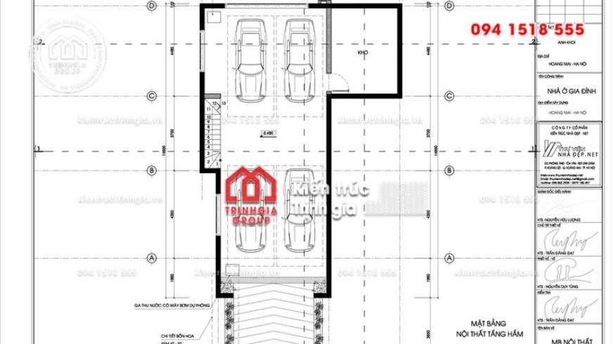 Bản thiết kế nhà biệt thự 3 tầng hiện đại có tầng hầm để xe
