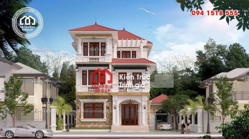 Xem mẫu thiết kế nhà biệt thự 3 tầng kiến trúc mái thái đẹp
