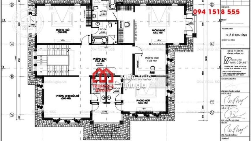 Ấn tượng trước thiết kế biệt thự 3 tầng mái thái tân cổ điển