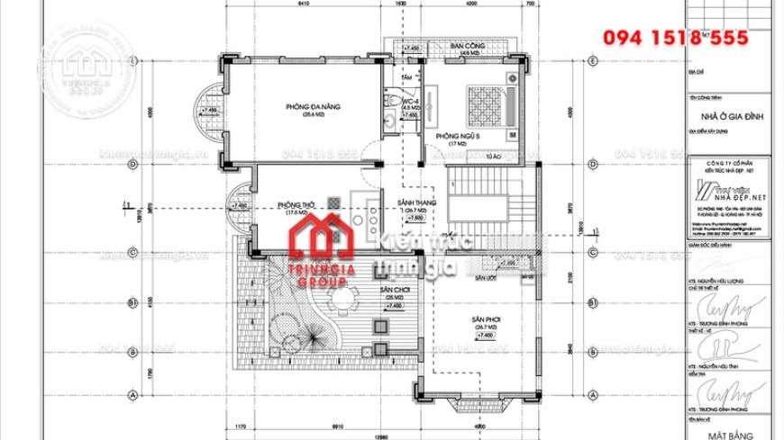 Thiết kế biệt thự 3 tầng mái thái phong cách tân cổ điển đẹp