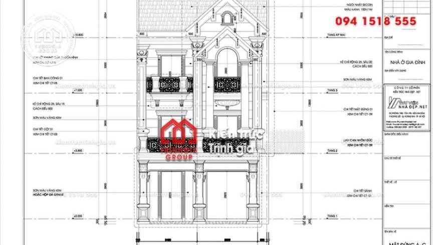Bản vẽ mẫu thiết kế biệt thự phố mini 3 tầng đẹp ngây ngất!