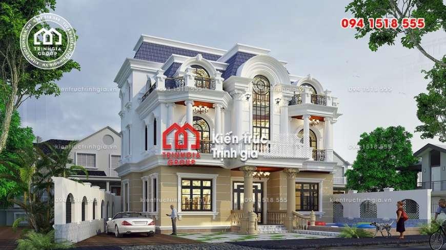Bản thiết kế mẫu nhà biệt thự 3 tầng phong cách tân cổ điển