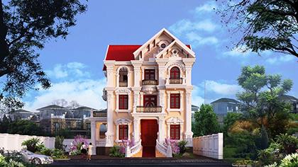 Mẫu thiết kế biệt thự kiểu Pháp 3 tầng tinh tế và sang trọng