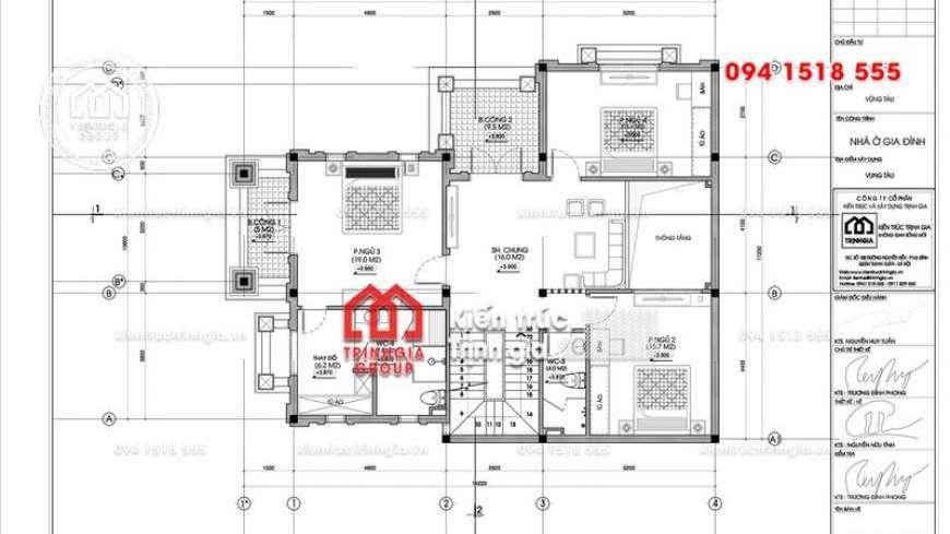 Bản vẽ thiết kế biệt thự vườn 3 tầng hiện đại đẹp sang trọng