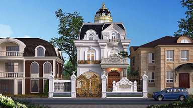 Mẫu thiết kế biệt thự Pháp với màu trắng sang trọng quý phái