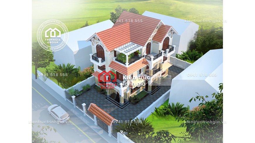 Mẫu thiết kế biệt thự 3 tầng đep mái thái sang ở Ninh Bình