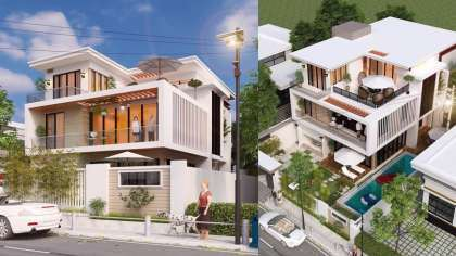 Bản vẽ thiết kế biệt thự 250m2 có sân vườn, bể bơi hiện đại