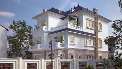 Mẫu thiết kế biệt thự 3 tầng 2 mặt tiền hiện đại có sân vườn