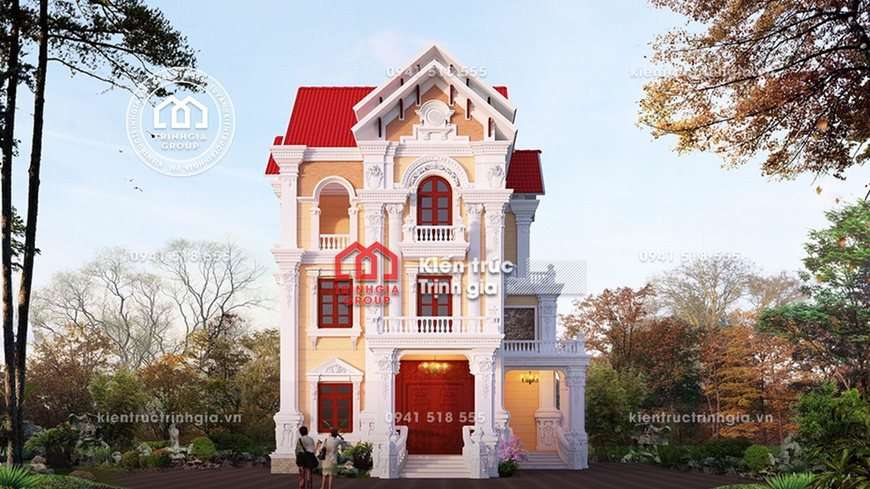 Mẫu thiết kế nhà biệt thự 3 tầng phong cách tân cổ điển đẹp!