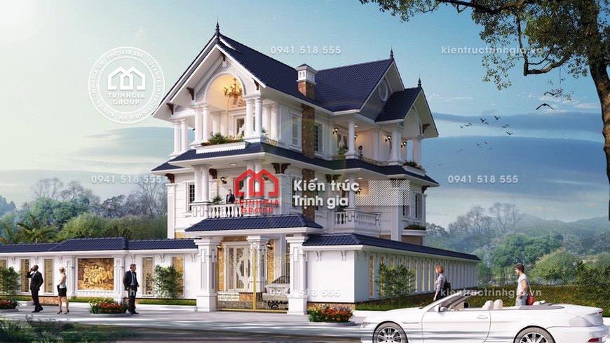 Bản thiết kế biệt thự 3 tầng mái thái đẹp hiện đại nhất