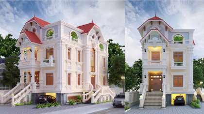 Ấn tượng! Mẫu thiết kế nhà biệt thự 3 tầng có vẻ đẹp cổ điển