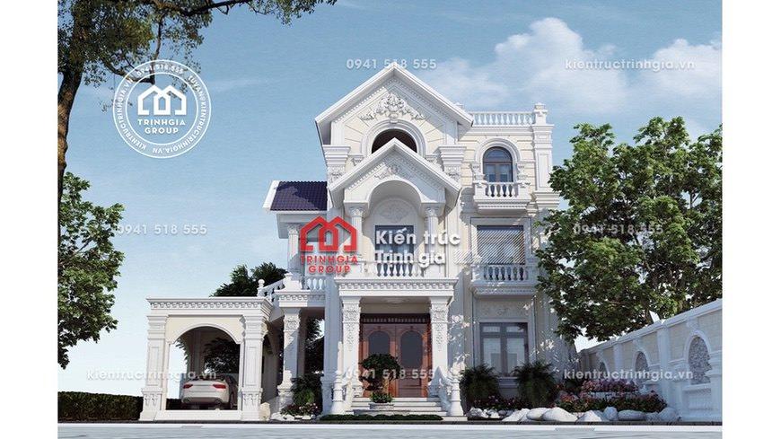 Mẫu thiết kế biệt thự 3 tầng mang đậm phong cách tân cổ điển
