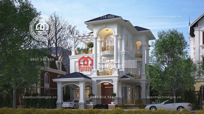 Mẫu thiết kế biệt thự phố 3 tầng kiến trúc tân cổ điển đẹp