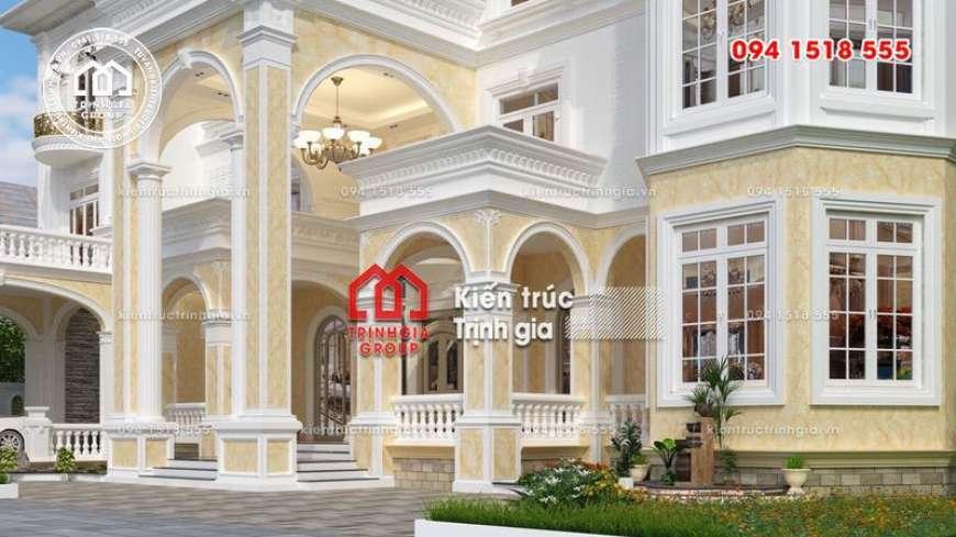 Bản vẽ thiết kế biệt thự phong cách tân cổ điển đẹp 4 tầng