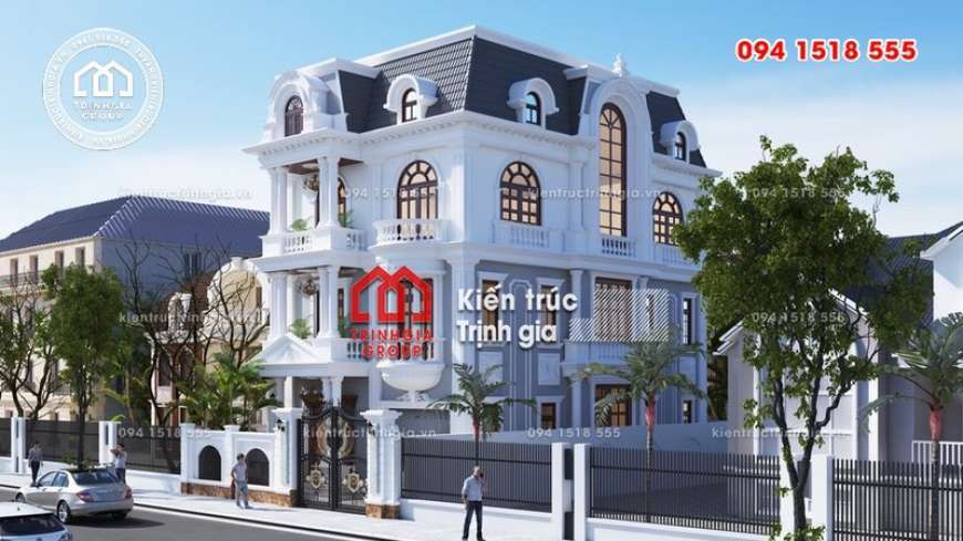 Mẫu thiết kế biệt thự sang trọng xu hướng kiến trúc Pháp cổ