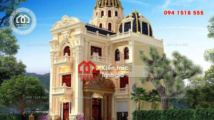 Tham khảo mẫu thiết kế biệt thự Pháp đẹp 4 tầng ở Ninh Bình