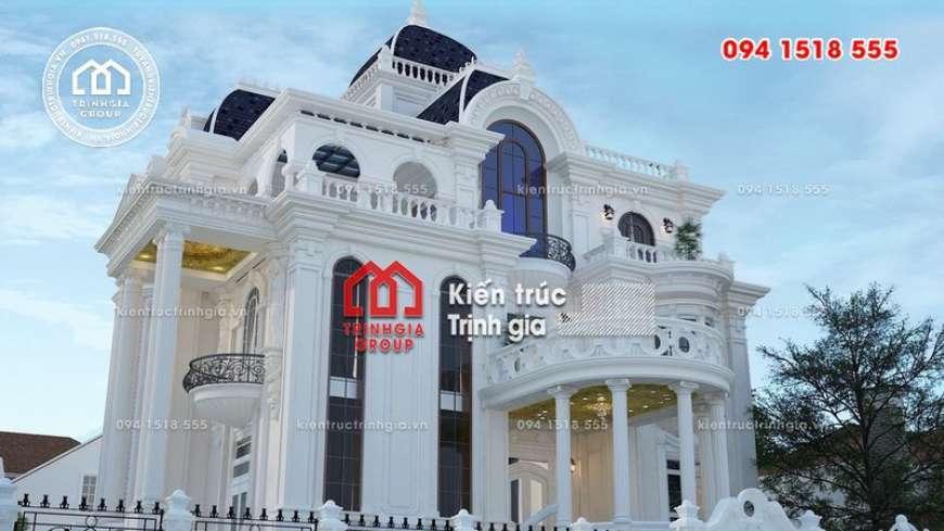 Biệt thự kiểu lâu đài 4 tầng đẹp xuất sắc với nét nhẹ nhàng