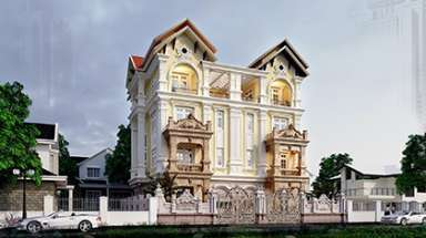 Mẫu biệt thự lâu đài đôi tân cổ điển đẹp nổi bật nhất phố